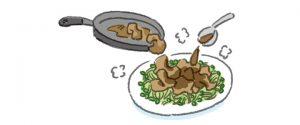 1のフライパンに豚バラ肉を重ならないように入れて、カリッとするまで焼く。焼きあがったらカイワレ大根の上に盛り、熱いうちに*を合わせたタレをかける